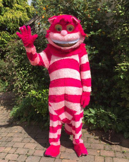 Masquerade Pink Striped Cat Mascot Costume Masquerade