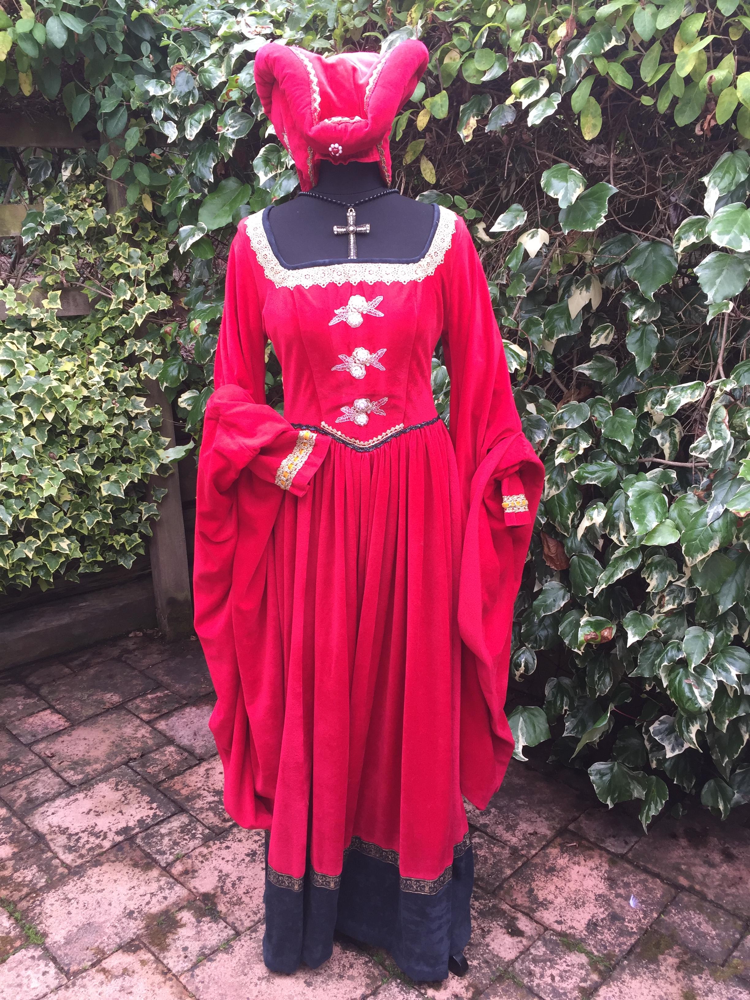 Masquerade Ladies Red Velour Medieval Costume Masquerade