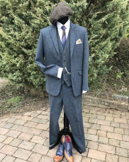 Masquerade Light Blue Tweed Peaky Blinders Suit Masquerade