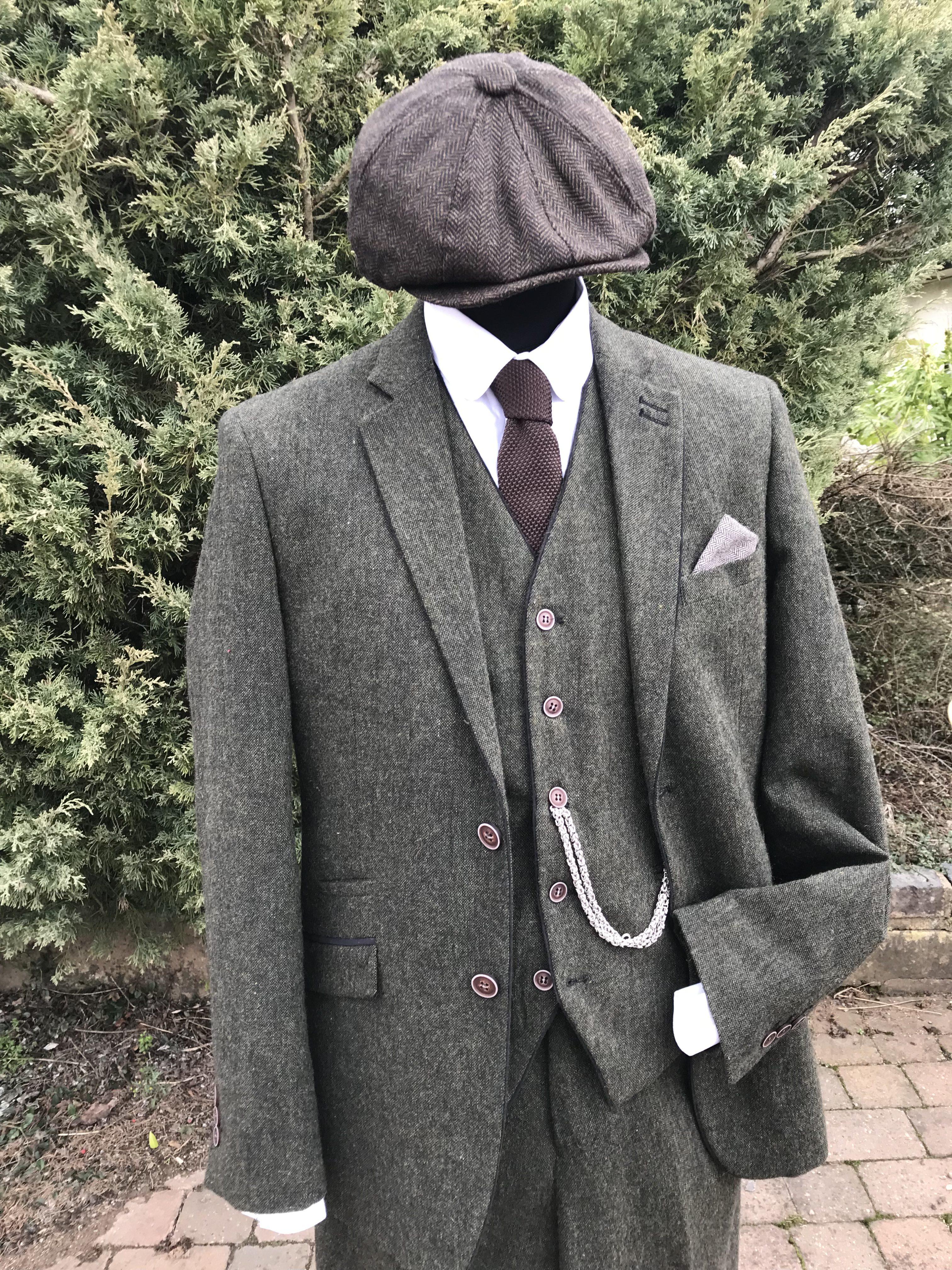 Masquerade Green Tweed Peaky Blinders Suit Masquerade
