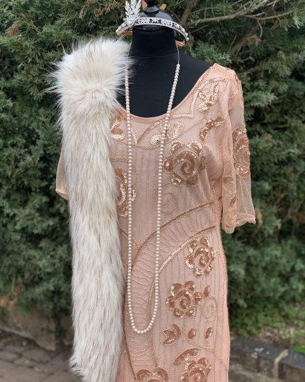 Masquerade Apricot Sequin Cap Sleeve 3 4 1920 S Dress