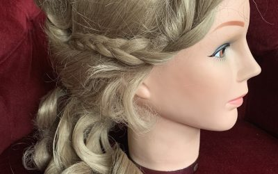 Ladies blonde skin top Edwardian ringlet wig