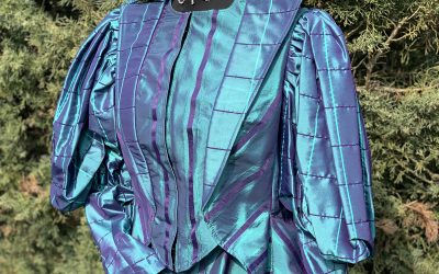 Ladies turquoise striped Edwardian day suit