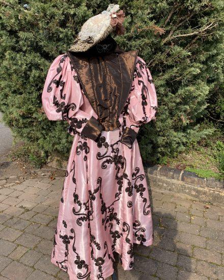 Ladies pink & Brown Edwardian day suit