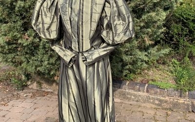 Ladies olive green striped Edwardian day suit