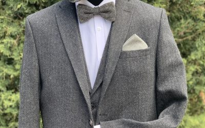 Grey herringbone tweed peaky blinder suit