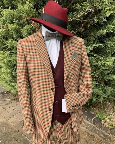 Buff & Burgundy checked spiv suit