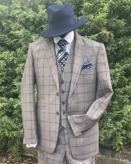 Grey & blue checked spiv suit