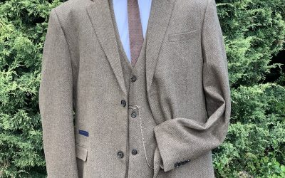 Buff herringbone tweed peaky blinder suit