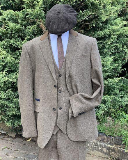 Buff herringbone tweed peaky blinder suit