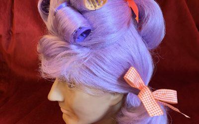 Lilac boudoir dame wig